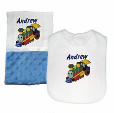 Handmade Personalized Embroidered Baby Boy Blue  Bib and Burp Cloth Set