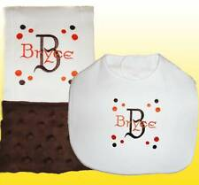 New Minky Handmade Personalized Brown Baby Boy Bib and Burp Cloth Sets