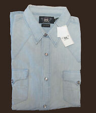 Double Ralph Lauren RRL Mens Denim Chambray Washed Slim Long Sleeve Button Shirt
