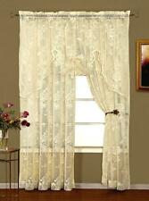 PAIR ABBEY ROSE LACE CURTAINS - 100 X 84 - SHABBY VICTORIAN ELEGANCE - 2 COLORS