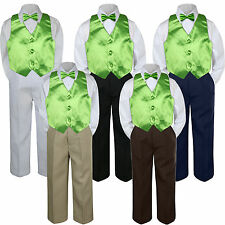 4pc Boys Suit Set Lime Green Neon Vest Bow Tie Baby Toddler Kids Pants S-7