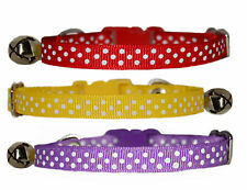 yellow pink purple red light blue navy white polka dots safety kitten cat collar