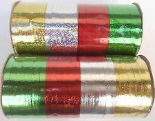 """CHRISTMAS FOIL & HOLOGRAPHIC CURLING RIBBONS 3/16"""" X 240""""  SELECT: Ribbon"""
