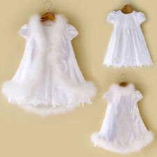 Baby Girl Christening Baptism Church Formal Dress Faux Fur Gown sz 0M-30 M white
