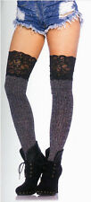 Leg Avenue 6913 Ribbed Knit Over Knee Slouch Socks Wide Lace Tops One Size Gray