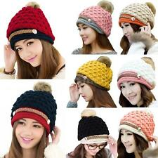 Women Winter Knitted Hat Knit Beret Crochet Faux Fur Pom-Pom Hat Ski Cap EM68