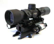 SKS 4x32 Compact Scope with Tactical Tri-rail Mount, LED Flash Light & Red Laser