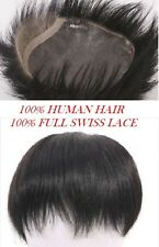 "6"" Full swiss lace 100% human hair men's toupee natural black top piece for men"