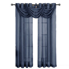Navy Abri Grommet Crushed Sheer Single Window Waterfall Valance