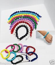 Wristband Micro USB 2.0 Charging Sync Data Bracelet Round Beads Cable Cord 9in