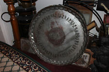 Antique United Arab Republic Middle Eastern LARGE Serving Tray-Silver On Copper