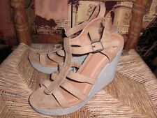 New WOMENS Heels FAUX SUEDE WEDGE ESPADRILLE SHOES SANDALS TAN CUTE!