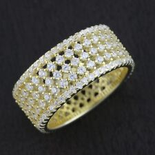 Womens Solid 925 Sterling Silver CZ Gold Plated Eternity Band Ring 9mm Width