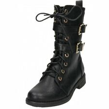 Black Flat Lace Up Zip Mid Calf Military Combat Biker Ankle Boots Victorian