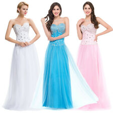 ❤Corset-style❤ LONG Party Gown Prom Ball Evening Bridesnaid White Tulle Dress uk