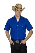 Men's New Western Express Cowboy Sport Rodeo Short Sleeve Solid Shirt Royal