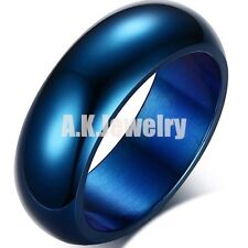 7MM Mens Fashion Blue Solid 316L Stainless Steel Comfort Fit Band Ring Size 6-13