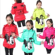 Girls Clothes kids Toddler Winter Cotton Minnie Mouse Hooded Coat Jacket 3-8Y
