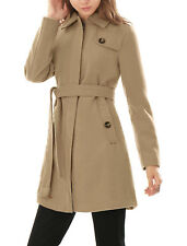 Woman Button-tab Epaulets Convertible Collar Belted Longline Worsted Coat
