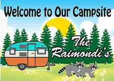 Personalized Camping Sign -Welcome to Our Campsite Camper w/ Raccoons