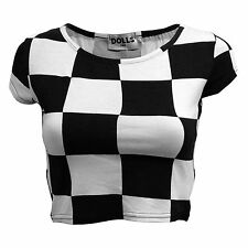 LADIES WOMENS CHECK MONOCHROME BLACK WHITE STRETCHY JERSEY CROP TOP 8 10 12 14