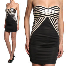 TheMogan Leather Striped Bandeau Strapless Cocktail Dress
