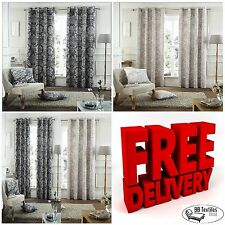 Catherine Lansfield Heavy Winter Toile Damask Fully Lined Eyelet Curtains £19.99