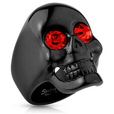 Black IP Skull  Ring with Red CZ Eyes  Glossy Surface Stainless Steel