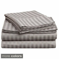 Egyptian Cotton Sateen 300 Thread Count Stripe Deep Pocket Sheet Set, King and C
