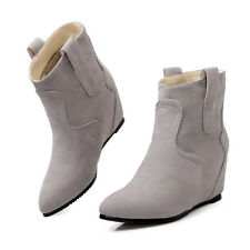 Women Hidden Wedge Heel Ankle Bootie Boots Pointy Toe Faux Suede OL Shoes Size