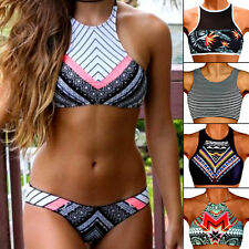 Plus Size Sexy Women High Neck Push Up Pad Top Bikini Set Swimsuit Swimwear FO