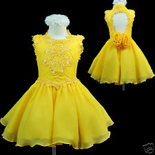 New Baby Toddler Girls Pageant Dance Graduation Formal Party Dress YELLOW GREEN