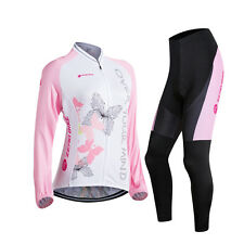 Women Cycling Jersey Bike Bicycle Clothes Long Sleeve Jacket&Pant Set Breathable