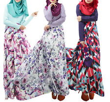 Women Long dress Muslim Kaftan Abaya Jilbab Islamic Clothing Flower maxi dress