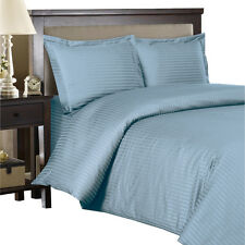 Blue 300 Thread Count 100% Egyptian Cotton Striped Duvet Cover Sets