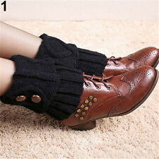 Soft Women Crochet Knitted Button Boot Cuffs Toppers Leg Warmers Winter Lot New