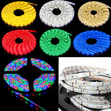 5M 300 LED Strip Light 3528 SMD/RGB Ribbon Tape Roll Waterproof IP65 12V Adapter