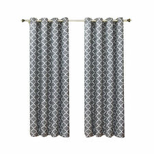 Meridian Gray Thermal Insulated 2PC Grommet Room Darkening Curtain Panels
