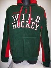 "MINNESOTA ""WILD HOCKEY"" Fuzzy Fleece NHL Hoody Sewn Logos M L XL 2X Green Red"