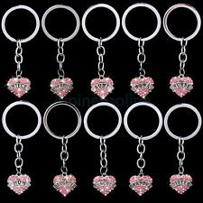 Fashion Love Heart Crystal Charms Pendant Keyring Keychain Xmas Party Favor Gift