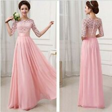 Bridesmaid Sexy Womens Chiffon Lace Boho Maxi Evening Party Cocktail Dress Gown