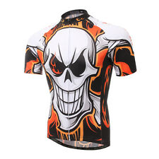 Short Sleeve Men's Cycling Jersey Bike Clothes Cycle Shirt Top Crazy Skull S-5XL