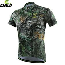 Green Camouflage Men's Short Sleeve Shirt Cycling Bike Bicycle Jerseys Jacket