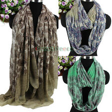 Women Vintage Paisley Floral Print Color Stitching Soft Long/Infinity Scarf New