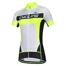 CHEJI Yellow Women Cycling Clothing Bike Bicycle Jersey Short Sleeve Shirts Top