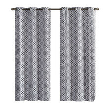 2-Charcoal Alexander Thermal Insulated Woven Blackout Curtain Grommet Panels