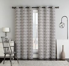 Justin Set of Two Brown Panels, Printed Grommet Top Blackout Window Curtains
