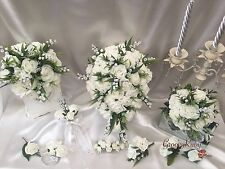 Wedding Flowers, Lily of the Valley Carnation Rose, Bride, Bridesmaid Bouquet