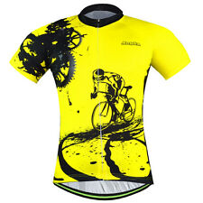 Men's Bike Clothing Short Sleeve Shirts Bicycle Cycling Jerseys T-shirt Yellow