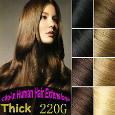 220g 10pc Salon Queen Deluxe Thick REMY 100%Real Human Hair Extensions,Full Head